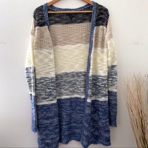 Poof! Knit sweater blue tan cream striped Large